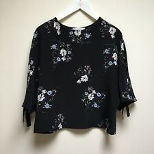 Black Floral 3/4 Sleeves Top Pull&Bear Size Small 6 8 10 S