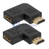 2x HDMI Right Angle Port Saver M/F Adapter - Vertical Flat Left 90 Degree