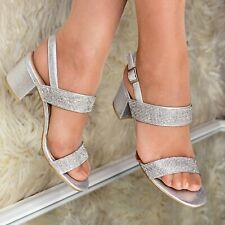 Ladies Diamante Low Block Heel Sandals Slingback Party Evening Shoes Sparkly