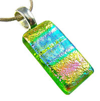 DICHROIC Glass PENDANT Silver Slide Lime Green Blue Pink Rainbow Tie Dye Striped