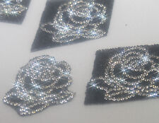 LOT 3 motifs Roses strass cristal et microbilles noire hotfix 5cm custom bling