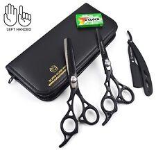 "6"" Professional Hairdressing Scissors Barber Shears Black Set of 3 LEFT HANDED"