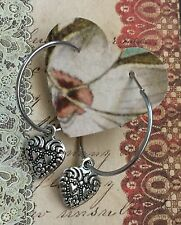 Silver Lever Back Hoop Etched Heart Earrings. Love. Boho Chic.