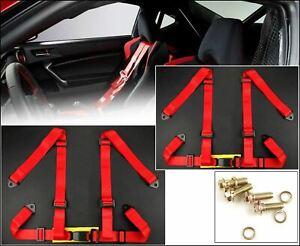"2 x Red 4 Point 2"" Width Nylon Buckle Racing Seat Belt Harness For Subaru  Mazda"