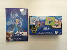 Disney FROZEN Anna Elsa Holiday Christmas Colored Art Paper Set + 4 Puzzle Pack