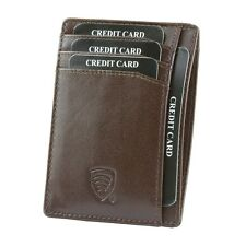 Black Genuine Leather Credit Card Holder Buffalo 100% RFID Protection | FREE PP