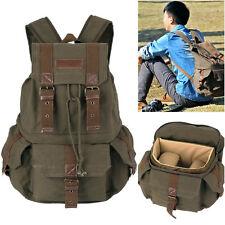 New Canvas Camera Bag Backpack Rucksack+Raincoat For Canon Nikon DSLR New