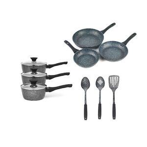 Salter COMBO-7549A Megastone 9-Piece Set, With Fry Pans, Saucepans and Utensils