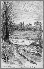 LÉON BERVILLE DESSIN ORIGINAL 1896 Vue vers BEZONS Val-d'Oise Seine