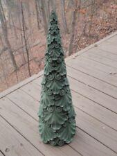 "New listing 18"" Cement Christmas Tree Garden Art Green Patina Concrete Statue Centerpiece"