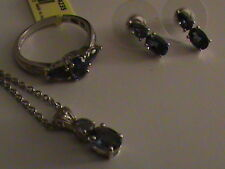 Catalina Lolite, Diamond Ring Size 6.5, Earrings & Pendant in Sterling Silver