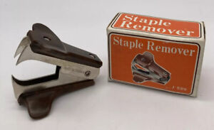 Vintage  Staple remover Marble Brown Black Made in Taiwan.