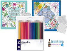 3 Piece adulti Set per colorare - OTTICO & MISTICA Libro + 22 Matite Colorate