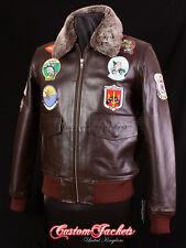 Men's TOP GUN BROWN G-1 Bomber Fighter Pilot Aviator Cowhide Leather Jacket