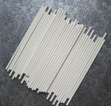 "6"" SOLID WHITE PLASTIC LOLLIPOP CAKE POP LOLLY STICKS-choose your quantity"