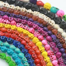 6x8mm Howlite Loose Stone Carved Skull Beads Multiple Colors