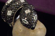 Schmuck Schlangenring Ring mit Brillanten schwarz weiß in Weißgold 750 18 Karat