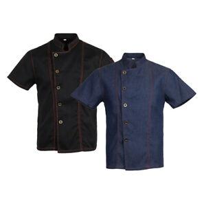 2 Pieces Mens Summer Denim Chef Coat Hotel Kitchen Chef Jackets Uniform XL