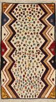 Little Figures/Animals Tribal Symbol IVORY Gabbe Abadeh Wool Rug Handmade 3x5
