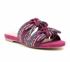 Charles David Souffle Pink Bow Strap Open Toe Suede Slide Sandal Sz 7.5 NEW