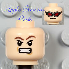 NEW Lego Light Flesh MINIFIG HEAD - Avengers Hawk Eye Red Sun Glasses Goggles