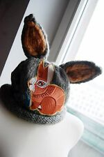 grey mori girl doll brown bead rabbit ears & patch embroidery thick knit hat
