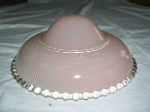 """Vintage Pink Ceiling Lamp Hanging 11"""" Glass Shade"""
