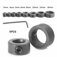8pcs Countersink Drill Bit Set Adjustable Depth Stop Collar Woodworking Drilling