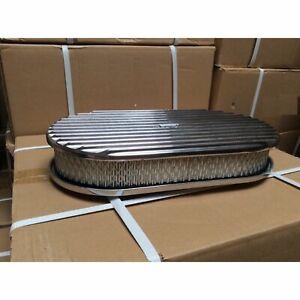 """15"""" Billet Oval GM Finned Air Cleaner + Filter Fits Edelbrock Holly Carb V8 350"""