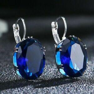 Gorgeous Oval Blue Sapphire Leverback Stud Earrings Silver plated Weddin Jewelry