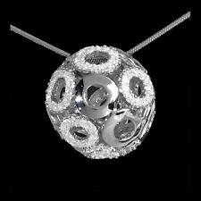 3D Kugel Anhänger 925 Sterling Silber mit Zirkonia Weiß 22mm Circle Rund Damen