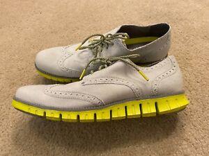 Cole Haan Men's 9.5 ZEROGRAND Wingtip Oxford Canvas Grey Shoes