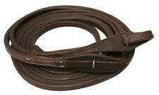 "Showman 8ft X 5/8"" Oiled Harness Leather Split Reins With Quick Change Bit Loops"
