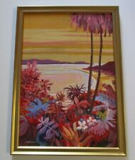 GERALD BROMMER PAINTING HAWAII TROPICAL AMERICAN LANDSCAPE COASTAL BEACH 1950'S