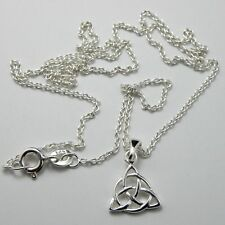 Solid 925 Sterling Silver Celtic Triquetra Necklace Pendant Chain New + Gift Bag