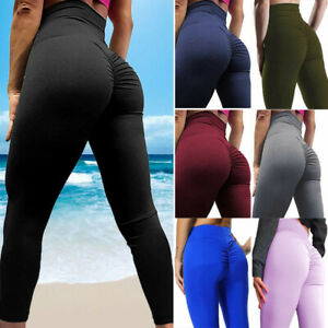 UK Women Scrunch Bum Lift Leggings High Waist Yoga Pants Fitness Ruched Trousers