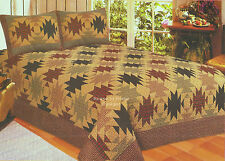 SOUTHWEST LODGE Full Queen QUILT SET : RED PLAID CABIN SOUTHWESTERN COMFORTER