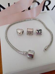 Genuine Pandora Heart, treasure chest n zodiac Charm Plus silver plated bracelet