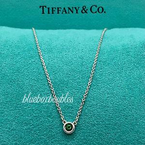 "Tiffany & Co. Elsa Peretti Color By The Yard Green Garnet Necklace Silver 16"""