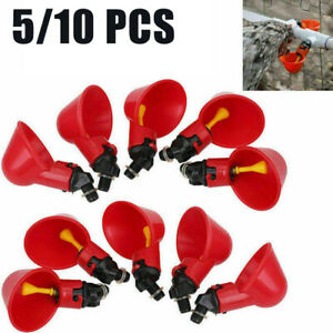 10x/5x Poultry Water Drinking Cups Chicken Hen Plastic Automatic Drinker Feeder