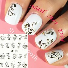 Nail Art Stickers (#Y046 ORO)-Decals-Water Transfer Adesivi per Unghie-Manicure!