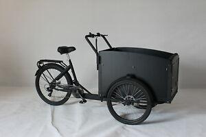 Classic bakfiets, Vélo Hollandais cargo transport 4 enfant noir 7 vitesses, Neuf