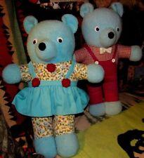 "2 VINTAGE RARE 21"" PLUSH TURQUOISE BLUE GOOGLIE EYES TEDDY BEAR 50s 60s TWIN TOY"