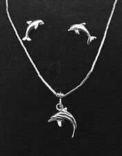 .925 Liquid Silver Nautical Gift Set Dolphin Earrings & Necklace Pendant Charm