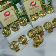 12 vintage German gold candle clips christmas tree metal clip-on holders SWIVEL