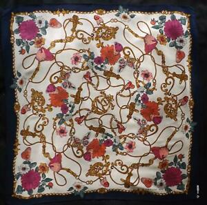 Vintage JAEGER Silk Scarf Butterflies & Flowers Made in Italy 84 cms x 84 cms