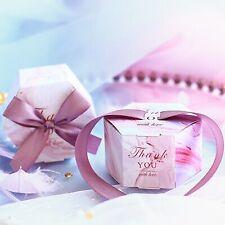 50pcs Creative Hexagon Wedding Favors Gift Box Thank You Marbling Candy Boxes