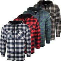 MENS QUILTED LINED PADDED HODDED SHIRT LUMBERJACK FLANNEL WORK JACKET WARM TOP