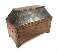 Antique 19th Century Wood Document Box Patriot Brass Stars Federal Shield