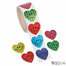 Roll Of 100Pc Sparkle Smile Face Heart Stickers Assorted Colors Brand New Sealed